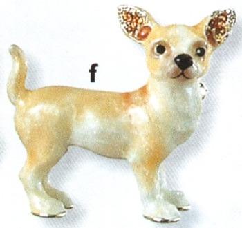 Kubla Crafts Bejeweled Enamel KUB 4516 Chihuahua Dog Brooch