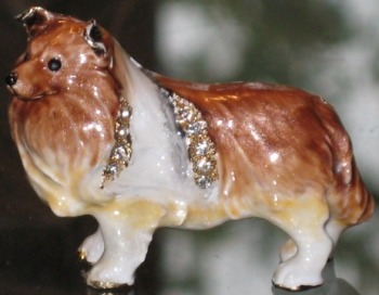 Kubla Crafts Bejeweled Enamel KUB 4518 Sheltie Dog Brooch