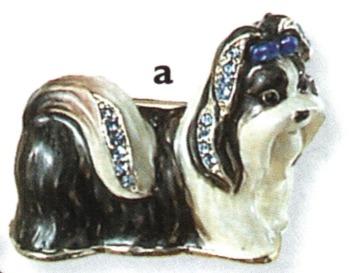Kubla Crafts Bejeweled Enamel KUB 4521 Shih Tzu Dog Brooch