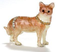 Kubla Crafts Bejeweled Enamel KUB 4544 Tabby Cat Brooch