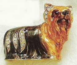 Kubla Crafts Bejeweled Enamel KUB 4548 Yorkie Yorkshire Terrier Dog Brooch