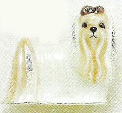Kubla Crafts Bejeweled Enamel KUB 4550 Maltese Dog Brooch