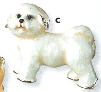 Kubla Crafts Bejeweled Enamel KUB 4559 Bichon Frise Dog Brooch