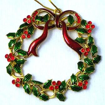 Kubla Crafts Bejeweled Enamel KUB 4581 Jeweled Enamel Wreath Ornament