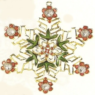 Kubla Crafts Bejeweled Enamel KUB 4582A Snowflake Ornament