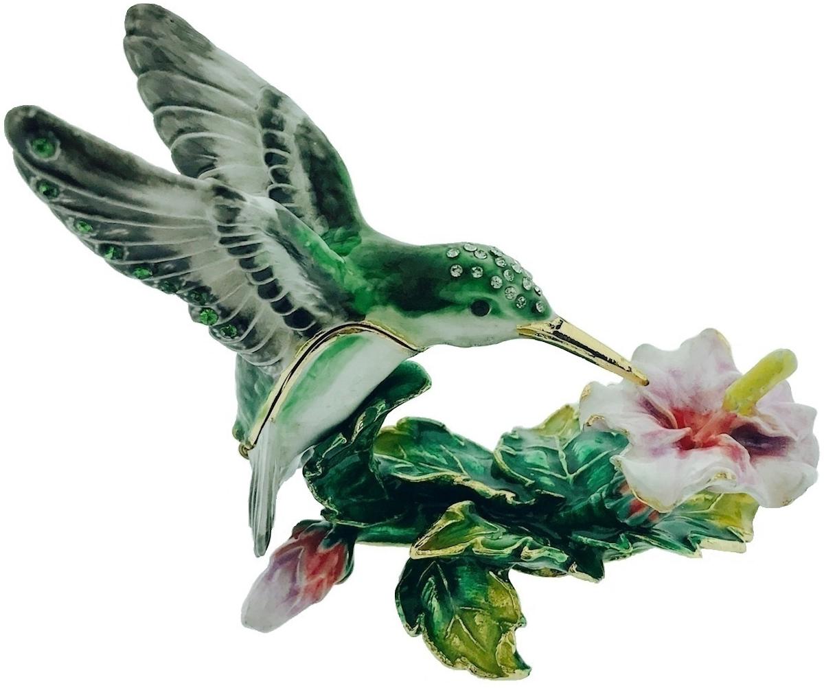 Kubla Crafts Bejeweled Enamel KUB 5-3048 Hummingbird and Hibiscus Box