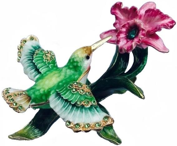 Kubla Crafts Bejeweled Enamel KUB 5-3190 Hummingbird with Flower Box
