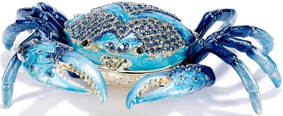 Kubla Crafts Bejeweled Enamel KUB 5-3296 Large Blue Crab Box
