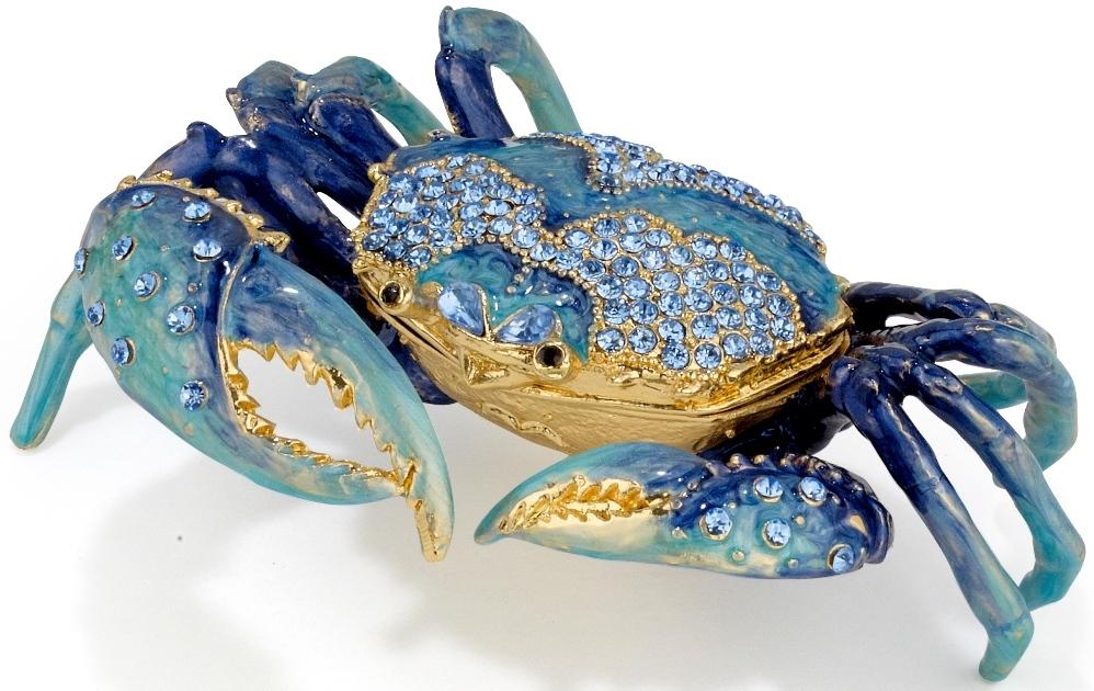Kubla Crafts Bejeweled Enamel KUB 5-3298 Blue Crab Extra Large Box