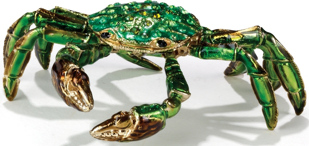 Kubla Crafts Bejeweled Enamel KUB 5-3415GN Crab Articulated Box