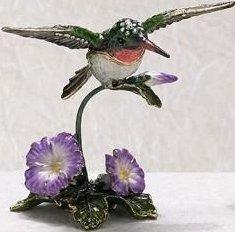 Kubla Crafts Bejeweled Enamel KUB 5-3589 Hummingbird Box with Morning Glory