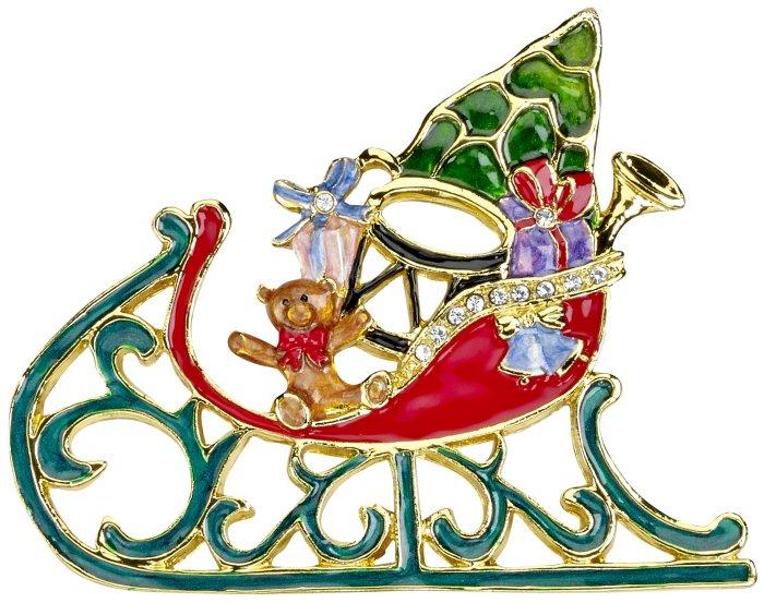 Kubla Crafts Bejeweled Enamel KUB 5-3663 Bejeweled Enamel Ornament Sleigh