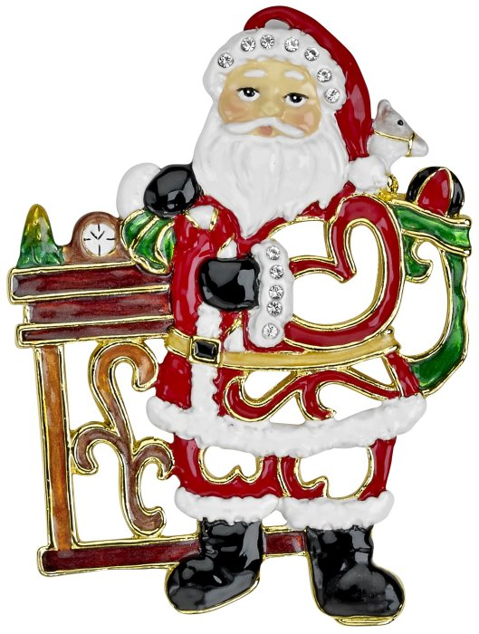 Kubla Crafts Bejeweled Enamel KUB 5-3667 Bejeweled Enamel Ornament Santa