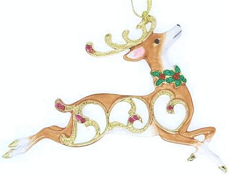 Kubla Crafts Bejeweled Enamel KUB 5-3679 Reindeer Ornament