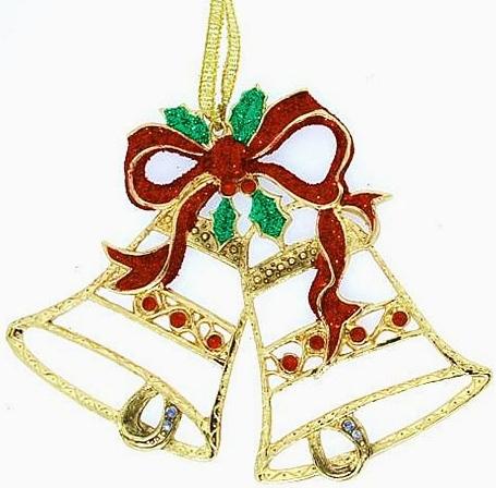 Kubla Crafts Bejeweled Enamel KUB 5-3682 Bejeweled Enamel Ornament Xmas Bell