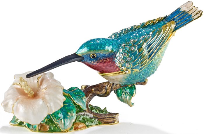 Kubla Crafts Bejeweled Enamel KUB 5-4120B Hummingbird Box