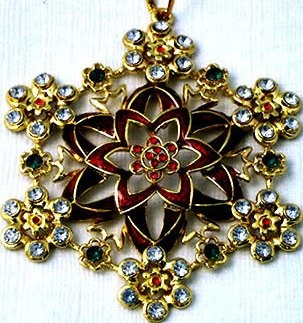 Kubla Crafts Bejeweled Enamel KUB 5-4582 Snowflake Ornament