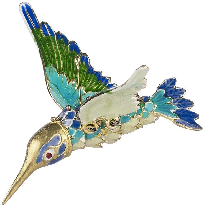 Kubla Crafts Cloisonne KUB 6-4739 Articulated Hummingbird Ornament