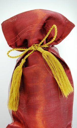 Kubla Crafts Bejeweled Enamel KUB 6601BU Organza Wine Bag Burgundy Set of 12