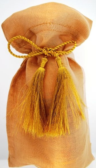 Kubla Crafts Bejeweled Enamel KUB 6601YE Organza Wine Bag Yellow Gold Set of 12