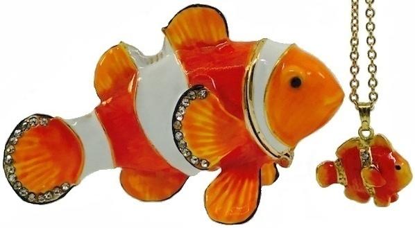 Kubla Crafts Bejeweled Enamel KUB 7-3051CN Clownfish Box and Necklace