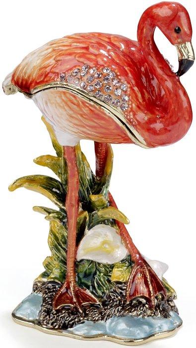 Kubla Crafts Bejeweled Enamel KUB 7-3234 Pink Flamingo Box