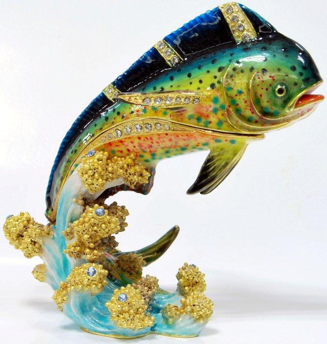 Kubla Crafts Bejeweled Enamel KUB 7-3317 Mahi Mahi Box