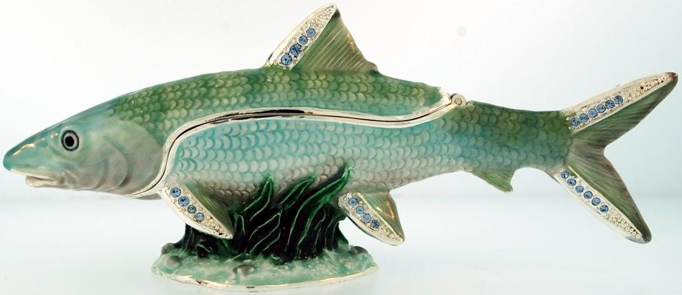 Kubla Crafts Bejeweled Enamel KUB 7-3406 Bonefish Large Box