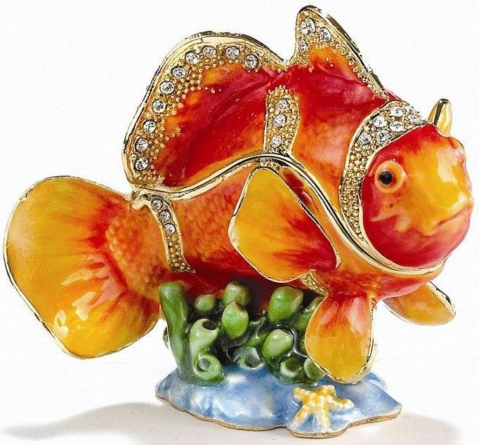 Kubla Crafts Bejeweled Enamel KUB 7-3428 Clown Fish Box