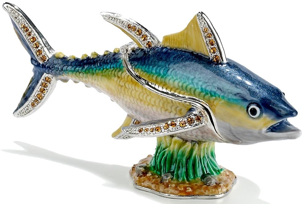 Kubla Crafts Bejeweled Enamel KUB 7-3479 Large Yellow Fin Tuna Box