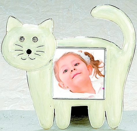 Kubla Crafts Bejeweled Enamel KUB 7-3646 White Cat Frame
