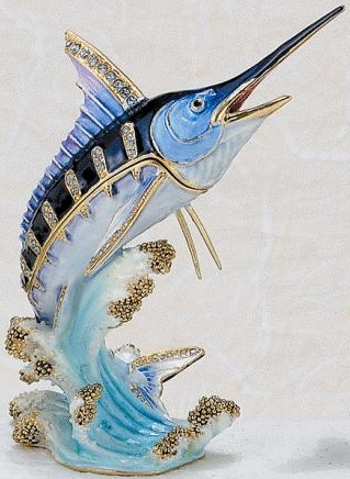Kubla Crafts Bejeweled Enamel KUB 7-3804B Marlin Box