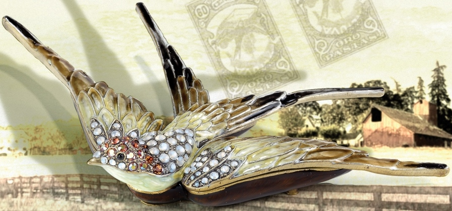 Kubla Crafts Bejeweled Enamel KUB 7-3970 Flying Swallow Box