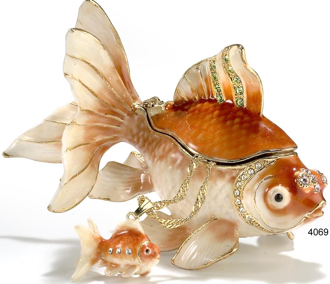 Kubla Crafts Bejeweled Enamel KUB 7-4069KN Koi Box and Necklace