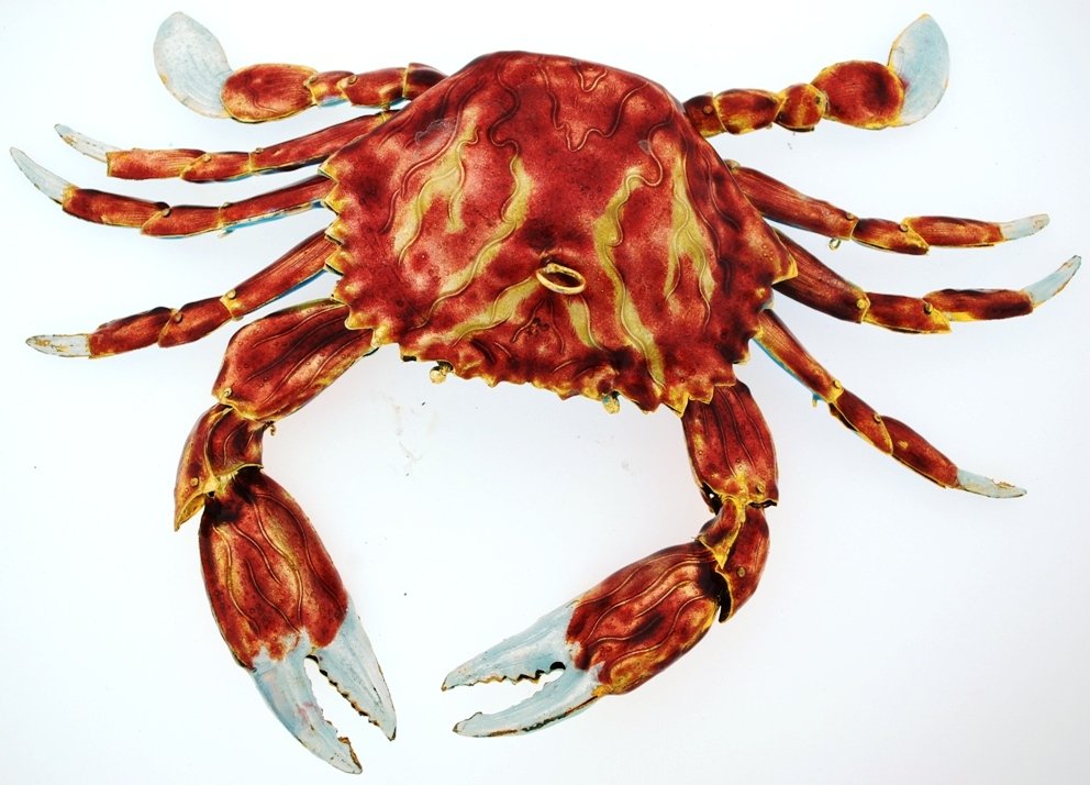 Kubla Crafts Cloisonne KUB 7-4160 Cloisonne Extra Large Crab Ornament