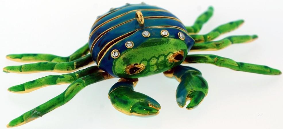 Kubla Crafts Cloisonne KUB 7-4778GR Bejeweled Art Crab Ornament Green