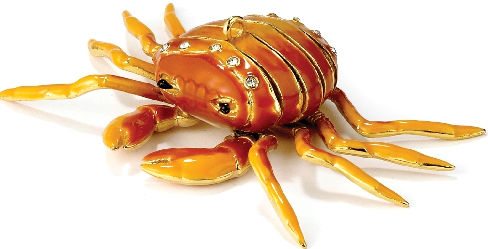 Kubla Crafts Cloisonne KUB 7-4778LB Jeweled Arti Crab Ornament