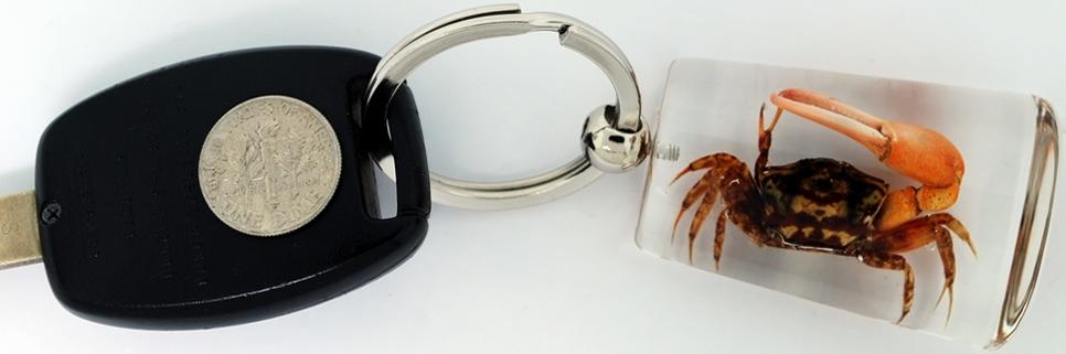 Kubla Crafts Bejeweled Enamel KUB 73-7525C Key Ring Light Brown Crab