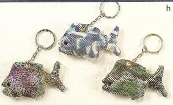 Kubla Crafts Bejeweled Enamel KUB 7714 Fish Key Chain Set of 12