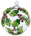 Kubla Crafts Cloisonne KUB 0-1303F Holly Leaf Enamel Glass Ball Ornament