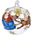 Kubla Crafts Cloisonne KUB 0-1303G Santa Sleigh Cloisonne Glass Ball Ornament