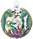 Kubla Crafts Cloisonne KUB 0-1303P Seahorse Cloisonne Glass Ball Ornament