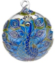Kubla Crafts Cloisonne KUB 0-1303V Blue Peacock Cloisonne Glass Ball Ornament