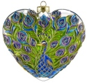 Kubla Crafts Cloisonne KUB 0-1307A Peacock Cloisonne Glass Ornament