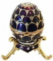 Kubla Crafts Bejeweled Enamel KUB 0-3118 Purple Egg with stand