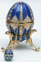 Kubla Crafts Bejeweled Enamel KUB 0-4014B Blue Egg Box and Necklace