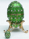 Kubla Crafts Bejeweled Enamel KUB 0-4014G Green Egg Box and Necklace
