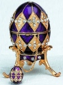 Kubla Crafts Bejeweled Enamel KUB 0-4014P Purple Egg Box and Necklace