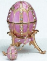 Kubla Crafts Bejeweled Enamel KUB 0-4014PK Pink Egg Box and Necklace