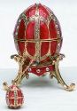 Kubla Crafts Bejeweled Enamel KUB 0-4014R Red Egg Box with Pendant